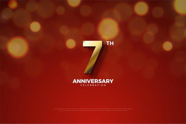 Seu sétimo aniversário com um número dourado e uma sombra cortando o número