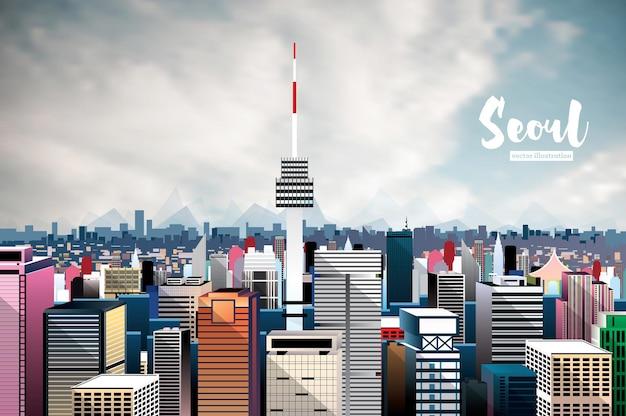 Seul city skyline. ilustração vetorial. vista aérea.