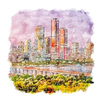 Seul, coreia do sul, esboço em aquarela