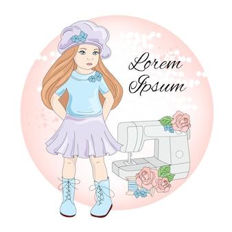 Sew girl icon social media perfil retrato Vetor Premium