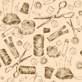 Sewing sketch seamless pattern com thread bobina agulha travesseiro tesoura ilustração vetorial.