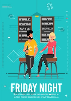 Sexta-feira à noite anúncio poster com pessoas relaxantes