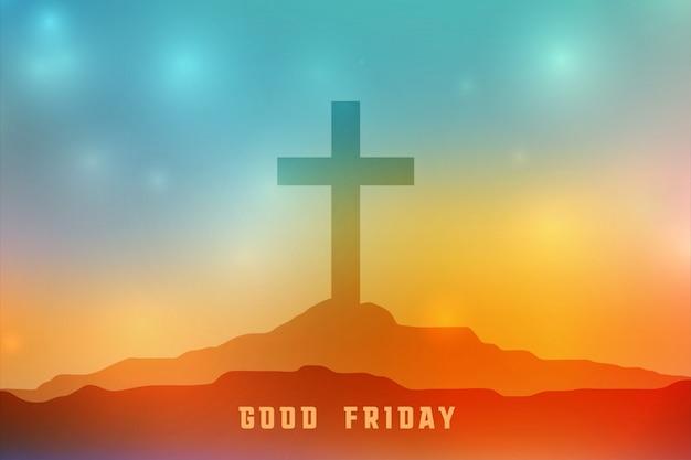 Sexta-feira cena celestial com cruz símbolo