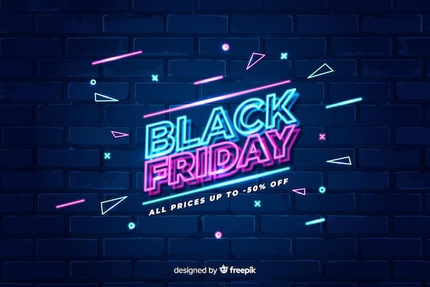 Sexta-feira colorida de néon preto Vetor Premium