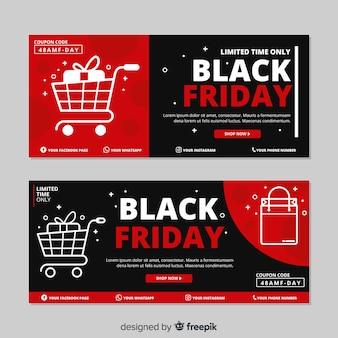 Sexta-feira design plano preto conjunto de banners