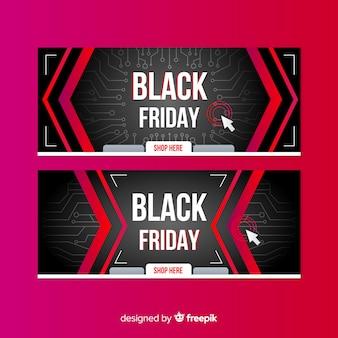 Sexta-feira negra coleção gradiente de banners