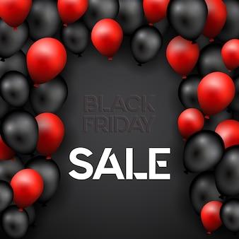 Sexta-feira negra com design de balões vermelhos e pretos