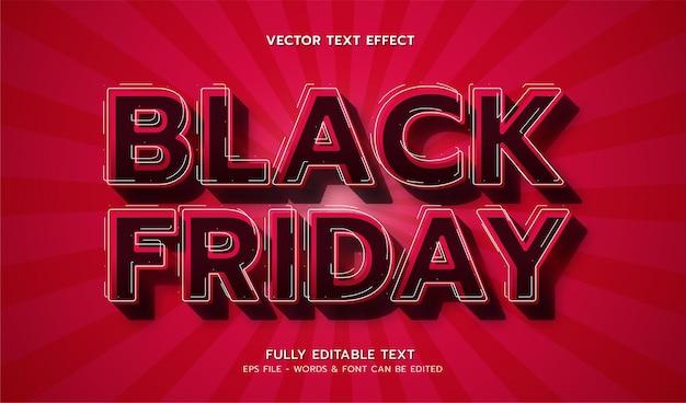 Sexta-feira negra com efeito de texto editável de estilo moderno Vetor Premium
