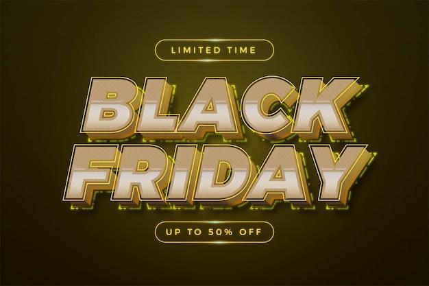 Sexta-feira negra com tema de efeito 3d conceito de cor amarela neon