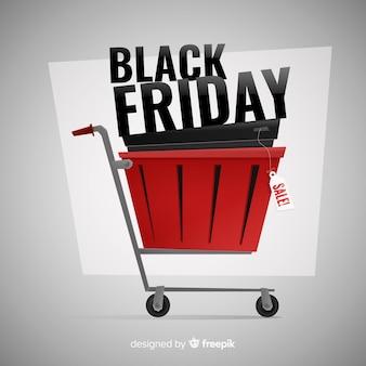 Sexta-feira negra conceito em um carrinho de compras