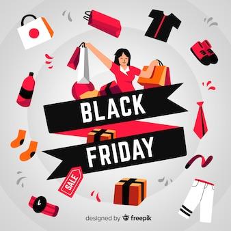 Sexta-feira negra desenhada de mão com mulher e produtos