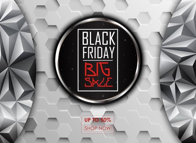 Sexta-feira negra grande cartaz de venda com fundo redondo preto
