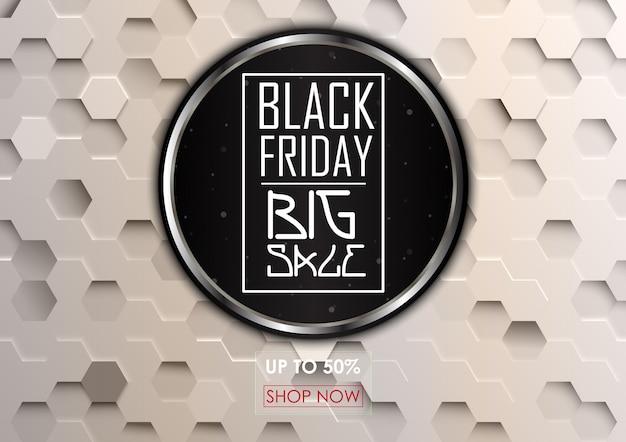 Sexta-feira negra grande venda com fundo hexagonal