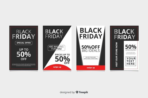 Sexta-feira negra instagram conjunto de histórias