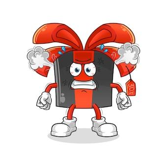 Sexta-feira negra mascote muito zangado. desenho animado