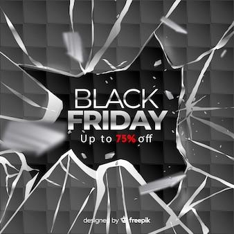 Sexta-feira negra realista com vidro quebrado