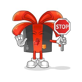 Sexta-feira negra segurando o desenho do sinal de stop. mascote dos desenhos animados