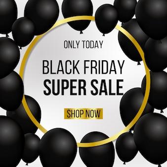 Sexta-feira negra super venda preto balões banner