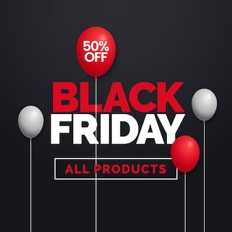 Sexta-feira negra venda 50% de desconto em todos os produtos