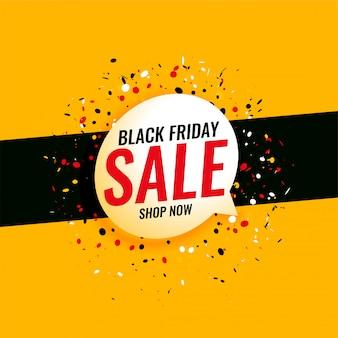 Sexta-feira negra venda banner amarelo com confete
