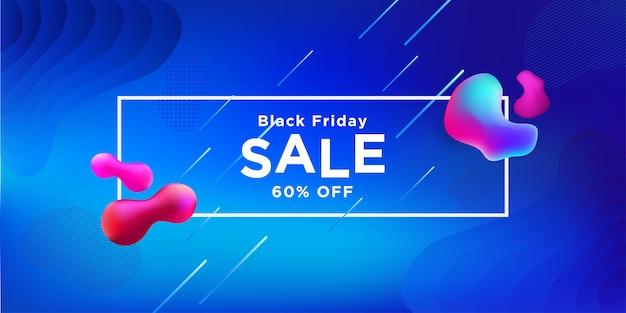 Sexta-feira negra venda banner fluido cor