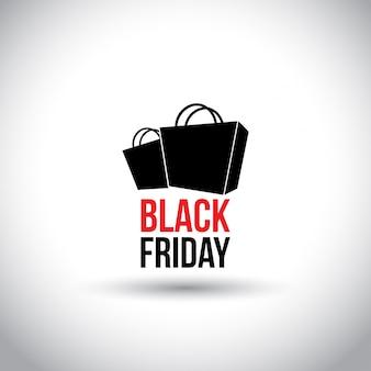 Sexta-feira preta. tipografia simples com sacolas de compras em fundo branco