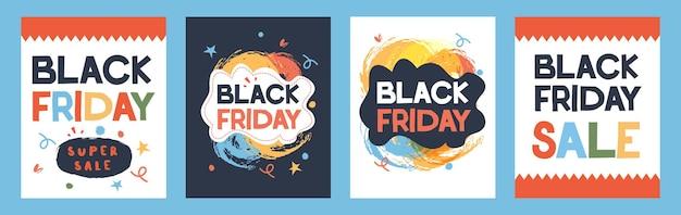 Sexta-feira preta. um conjunto de cartazes publicitários. oferta.