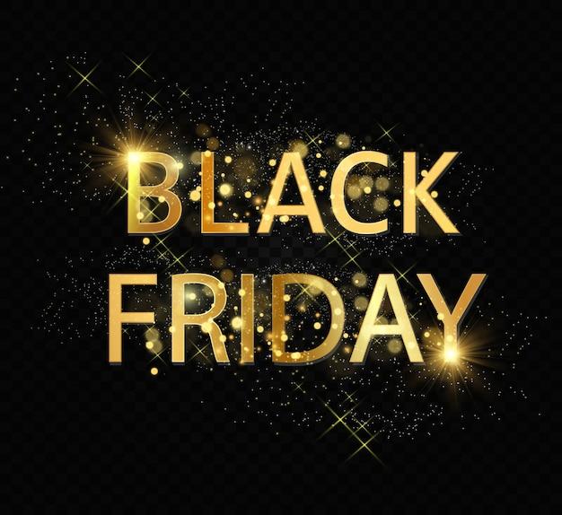 Sexta-feira preta. venda de sexta-feira. inscrição de ouro com pó brilhante.