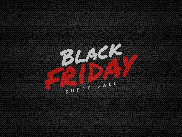 Sexta-feira super venda fundo preto com textura de jeans preto