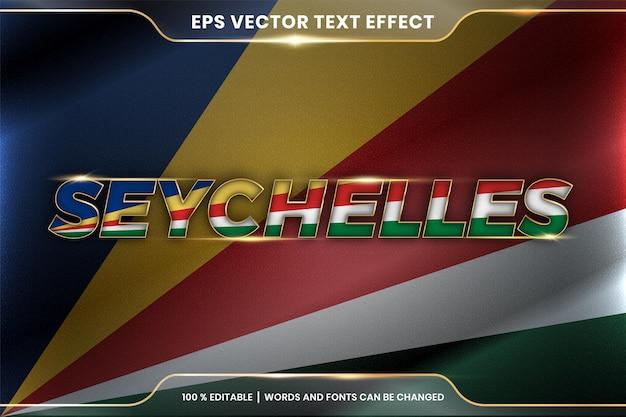 Seychelles com sua bandeira nacional acenando, estilo de efeito de texto editável com conceito de cor gradiente dourado