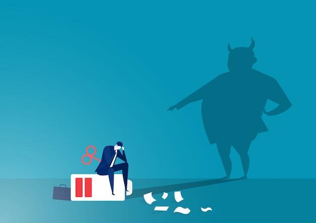 Shadow angry boss está repreendendo o gerente com o conceito de estresse dos funcionários