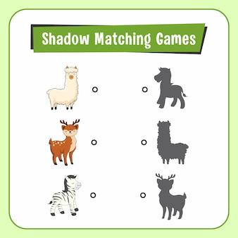 Shadow matchig games animais alpaca deer zebra