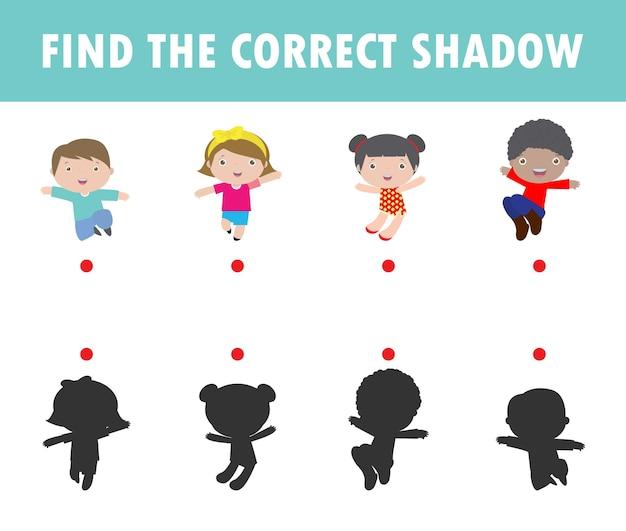 Shadow matching game para crianças. jogo visual para crianças encontrar a sombra correta