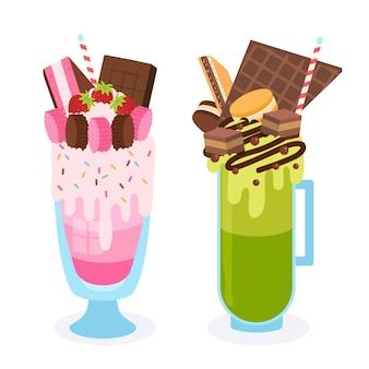 Shake de monstro desenhado de mão em sabores rosa e verdes