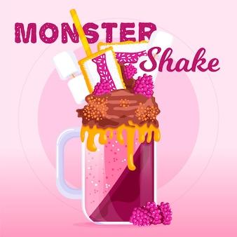 Shake de monstro desenhado de mão