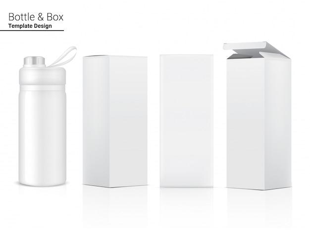 Shaker de plástico transparente realista de garrafa 3d com caixa para água e bebida. projeto de conceito de bicicleta e esporte.
