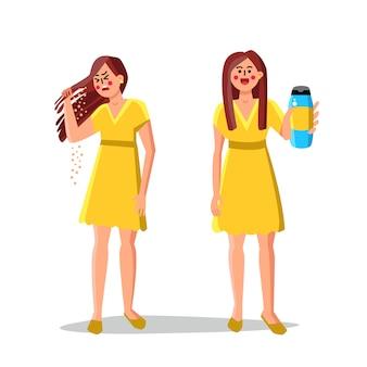 Shampoo de tratamento e problema de caspa do cabelo