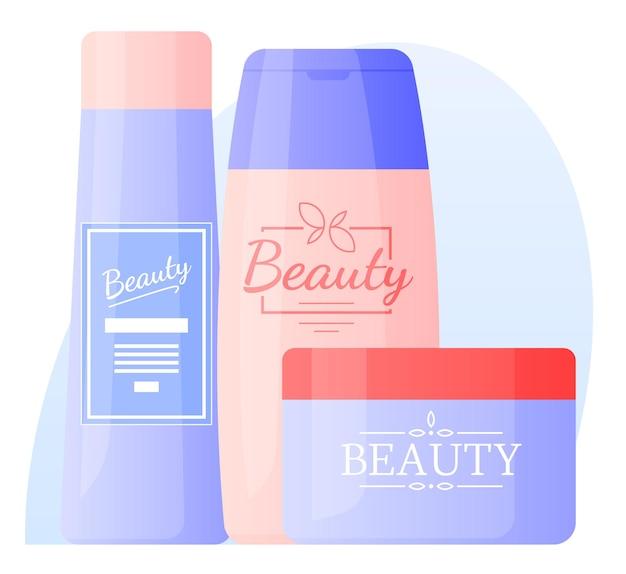 Shampoos, loções, óleos, cremes, cuidados. cuidado do cabelo e rosto.
