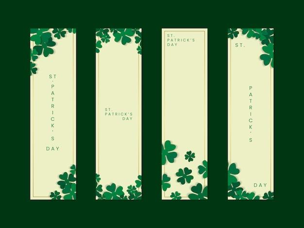 Shamrock st.patrick's day card set vector