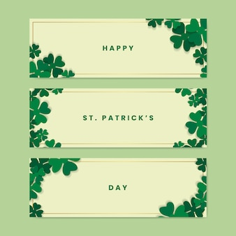 Shamrock st.patrick's day card set vector