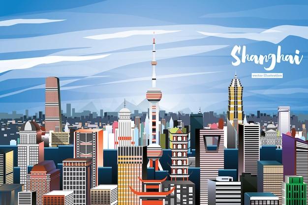 Shanghai china city skyline. ilustração vetorial. vista aérea.