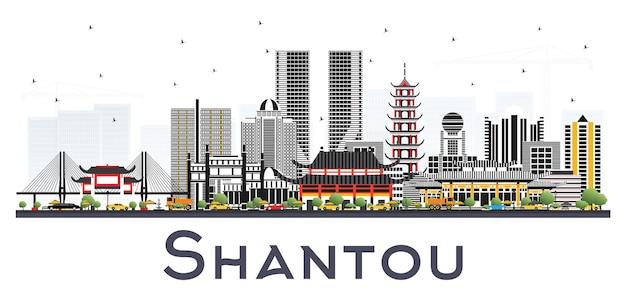 Shantou china skyline com cinza edifícios isolados.