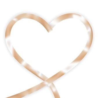 Shapend coração fita de seda dourada.