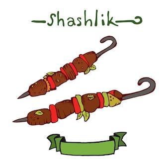 Shashlik. ilustração desenhada mão do vetor