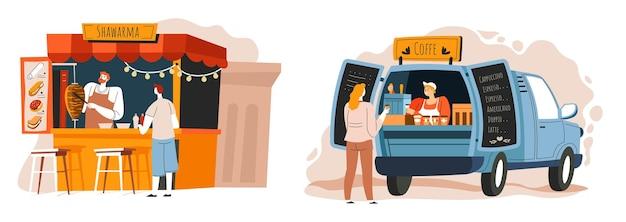 Shawarma e café com comida de rua e lanches para viagem