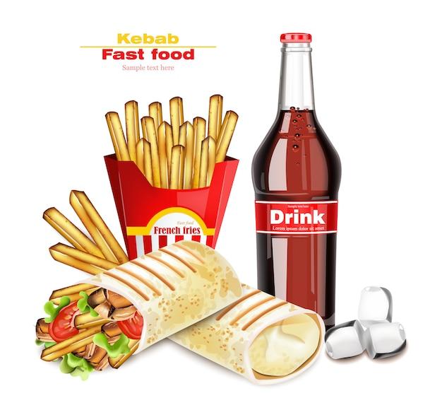 Shawarma e kebab menu de fast food