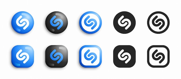 Shazam moderno 3d e conjunto de ícones plana