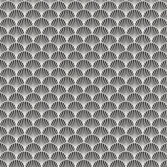 Shell sem costura padrão preto e branco do mar