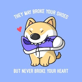 Shiba dog engraçado está mastigando sapatos ilustração de alta qualidade