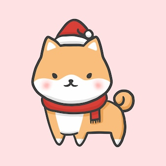 Shiba fofo fantasia natal mão desenhada cartoon estilo vector
